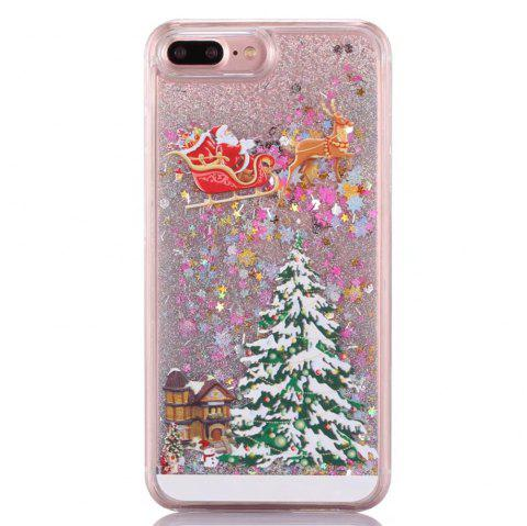 Christmas Element Liquid Sparkle Floating Luxury Protective Bumper Silicone Cove for iPhone 7 Plus / 8  Plus - SILVER