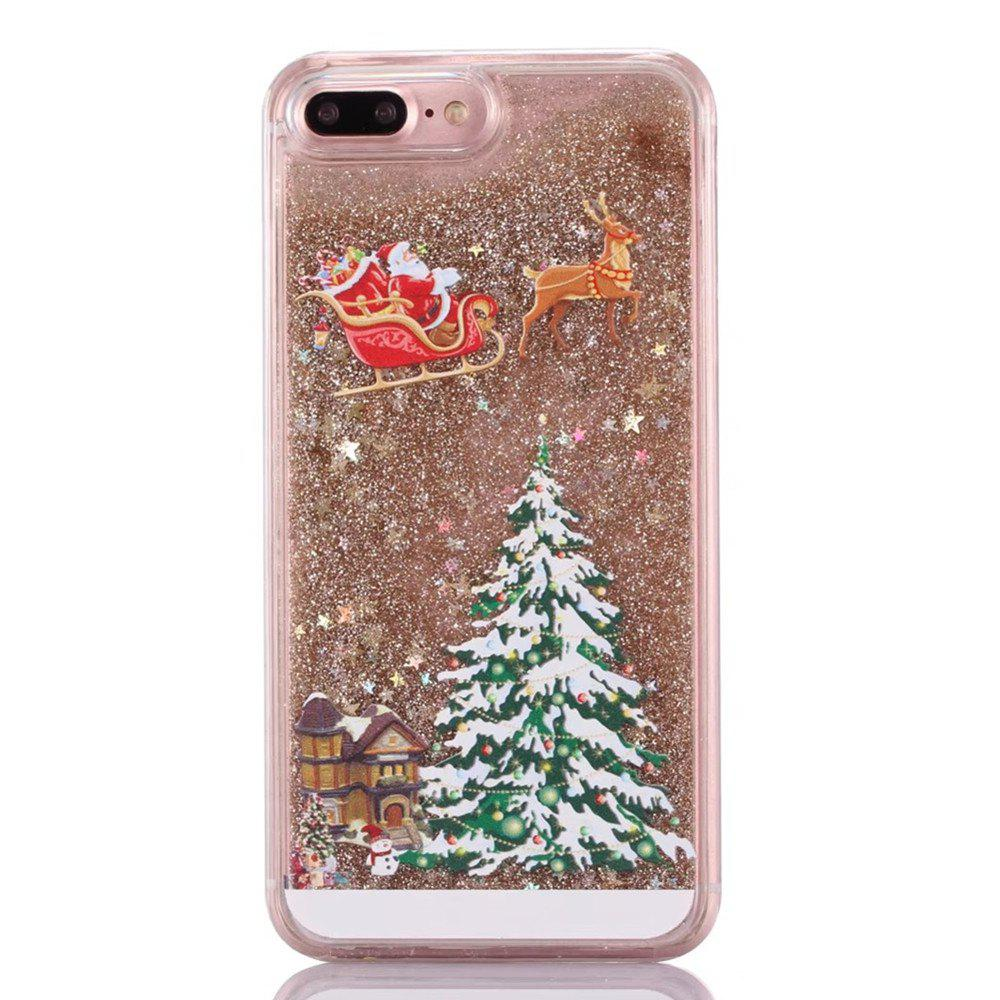 Christmas Element Liquid Sparkle Floating Luxury Protective Bumper Silicone Cove for iPhone 7 Plus / 8  Plus - GOLDEN