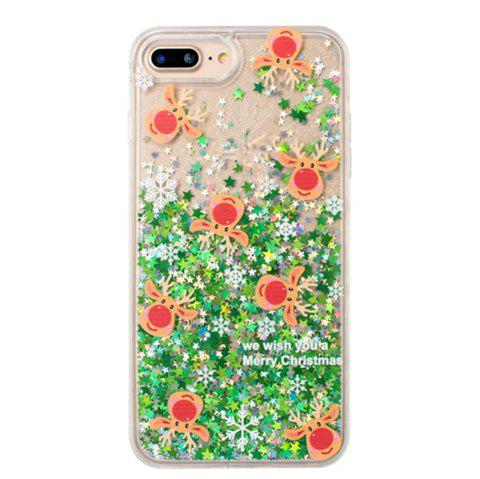 Christmas Element Liquid Sparkle Floating Luxury Protective Bumper Silicone Case for iPhone 7 Plus / 8 Plus - GREEN