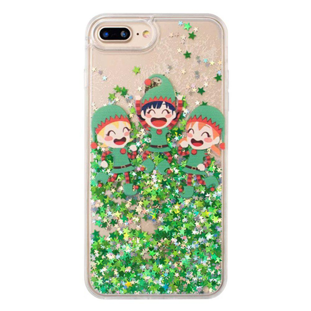 Christmas Element Liquid Sparkle Floating Luxury Protective Bumper Silicone Case for iPhone 7 Plus / 8 Plus - GRASS GREEN