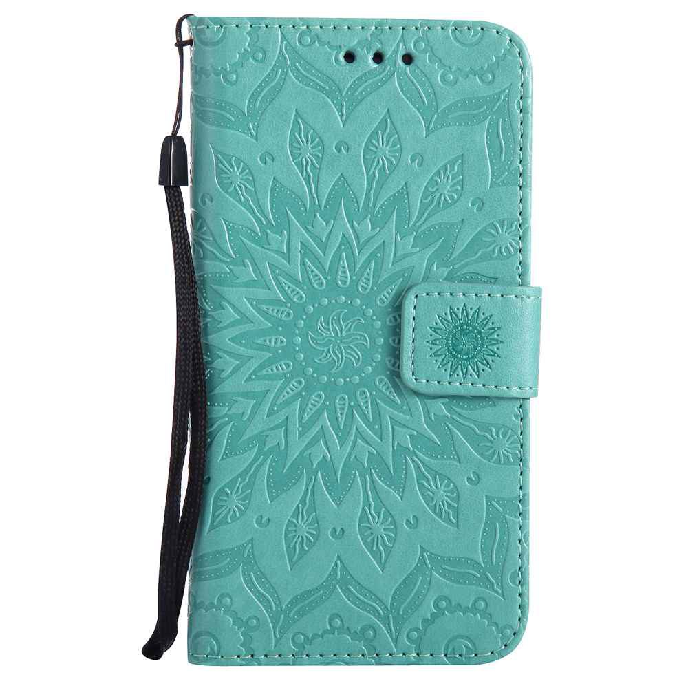 Embossed Sun Flower PU TPU Phone Case for Samsung Galaxy J5 2016 - GREEN