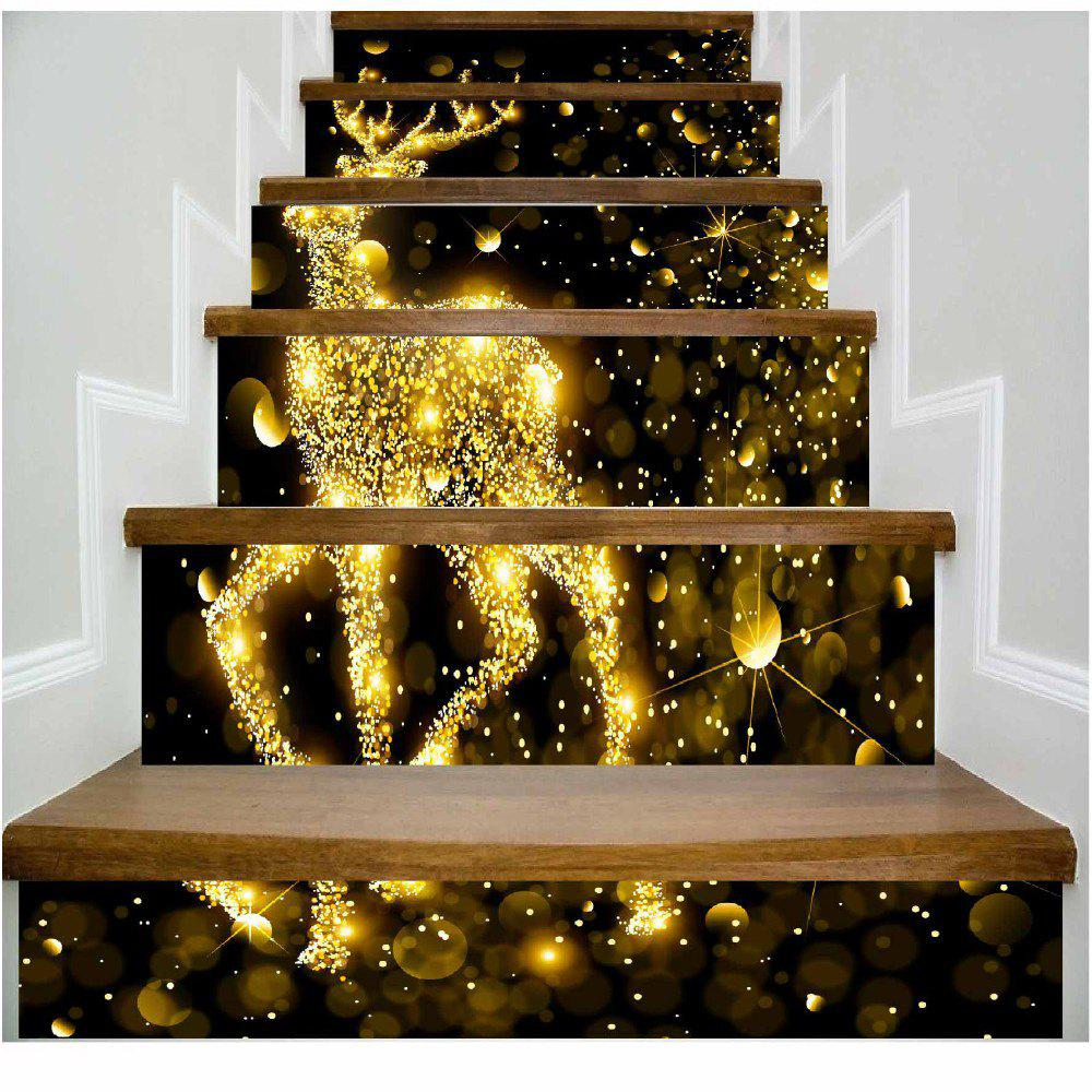 DSU Golden Deer Sparkling Stairs Wall Sticker - MIXED COLOR 100 X 108 CM