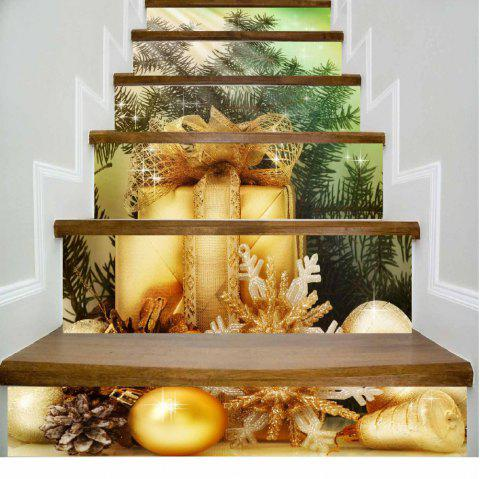 Green Leaves Golden Gifts Merry Christmas Stairs Sticker - MIXED COLOR 100 X 108 CM