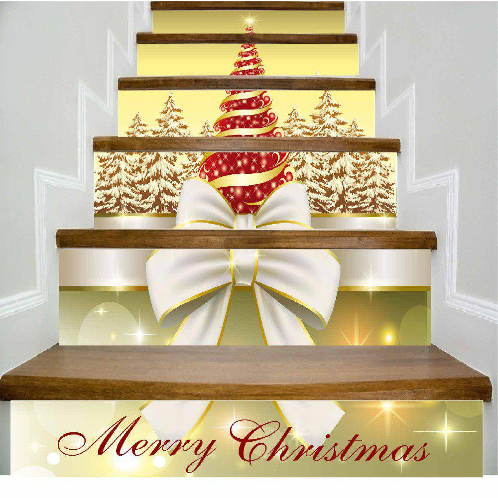 White Butterfly Knot and Red Christmas Tree Merry Christmas Stairs Sticker - MIXED COLOR 100 X 108 CM