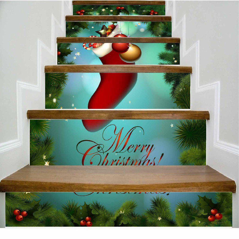 Merry Christmas Big Red Christmas Stockings Stairs Sticker - MIXED COLOR 100 X 108 CM