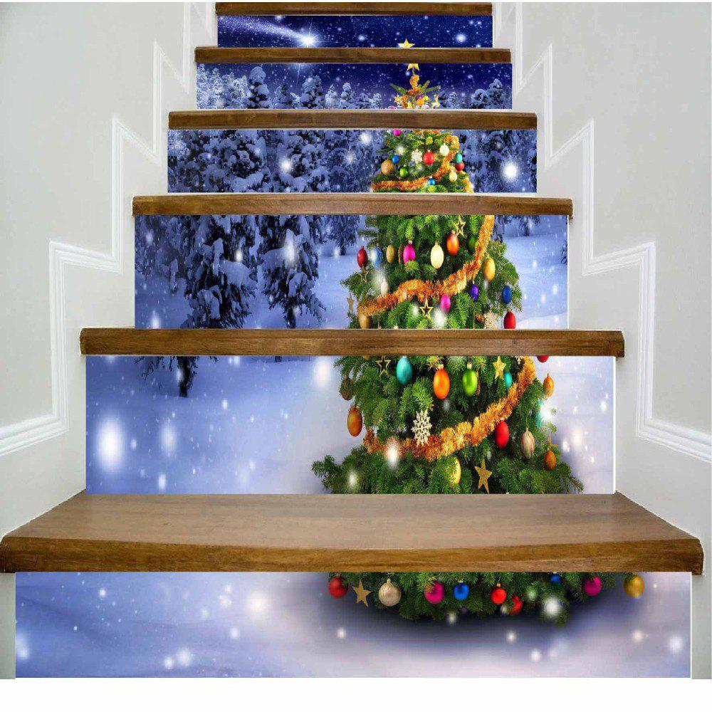 Colorful Christmas Tree in the Night Scene of Snow White Stairs Sticker - MIXED COLOR 100 X 108 CM