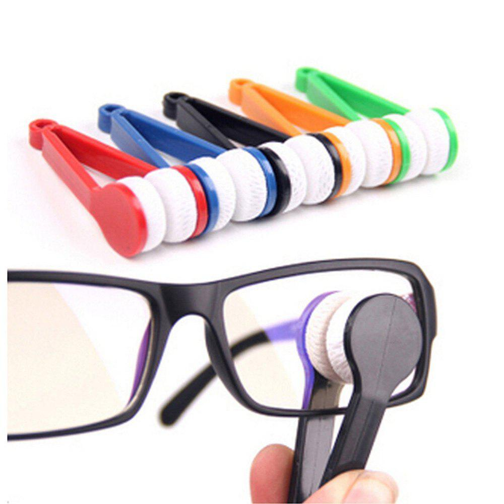5 pcs Mini Microfiber Spectacles Cleaner Eyeglasses Cleaner Cleaning Clip Soft Brush with Handle (Multi Colors) - multicolorCOLOR