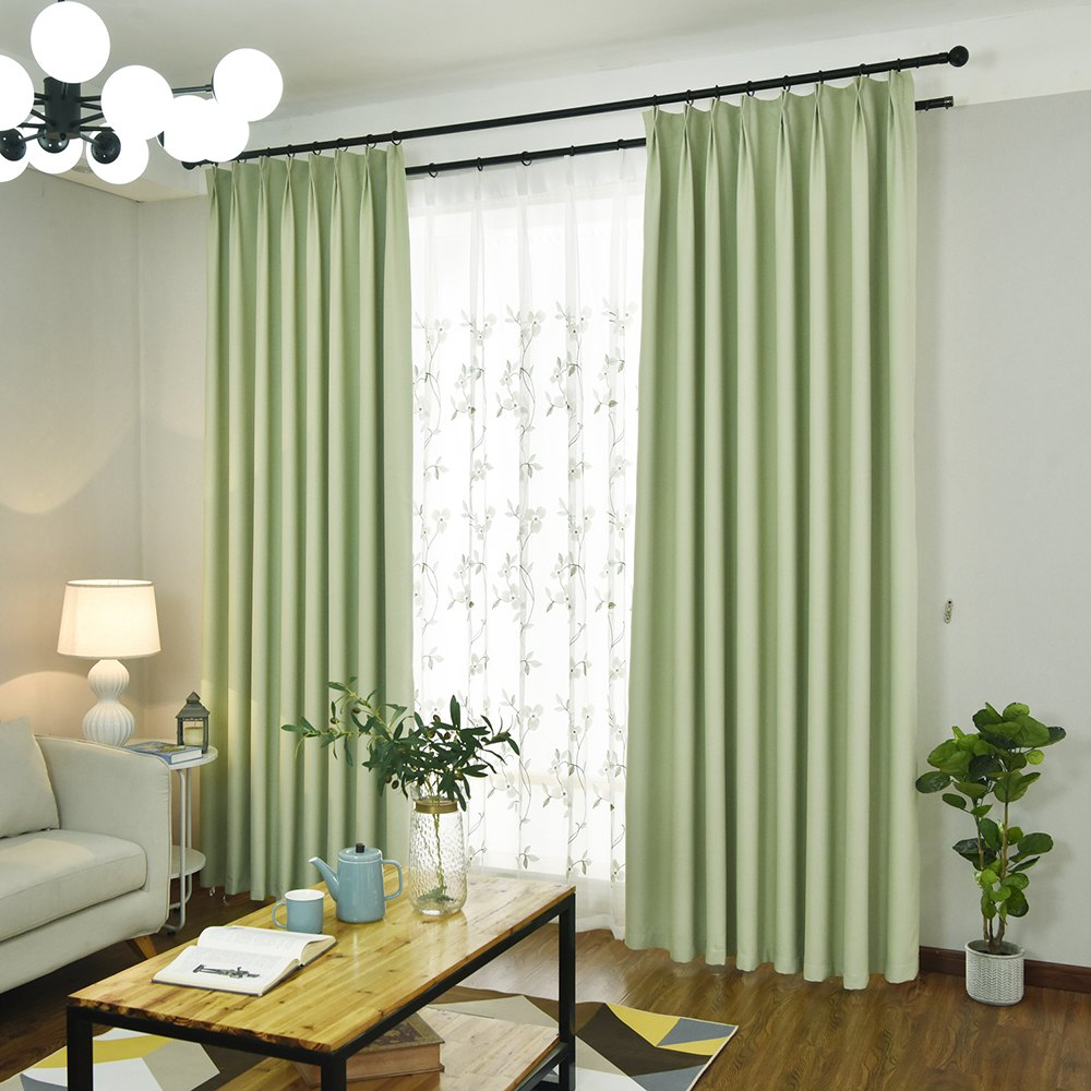 Simple And Elegant Style Living Room Bedroom Blackout Curtains Grommet    GREEN 2X(90WX90L)