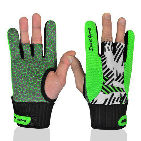 Professional Anti-Skid Bowling Gloves Comfortable Bowling Accessories Semi-finger Instruments Sports Gloves Mittens - GREEN L