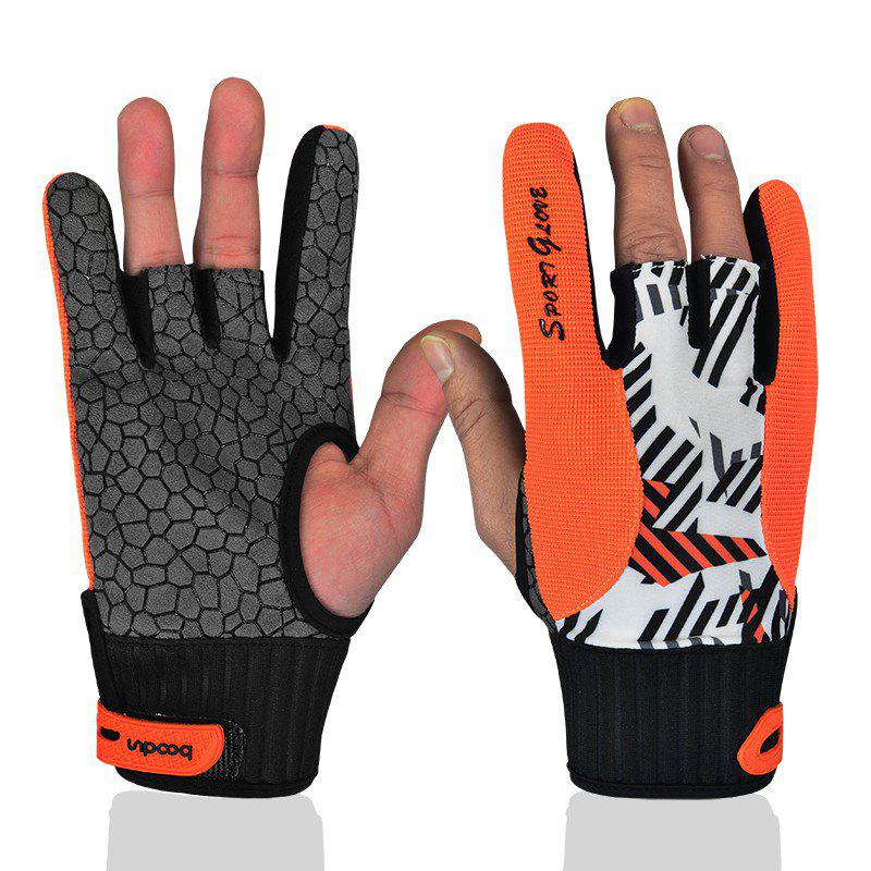 Professional Anti-Skid Bowling Gloves Comfortable Bowling Accessories Semi-finger Instruments Sports Gloves Mittens - ORANGE L