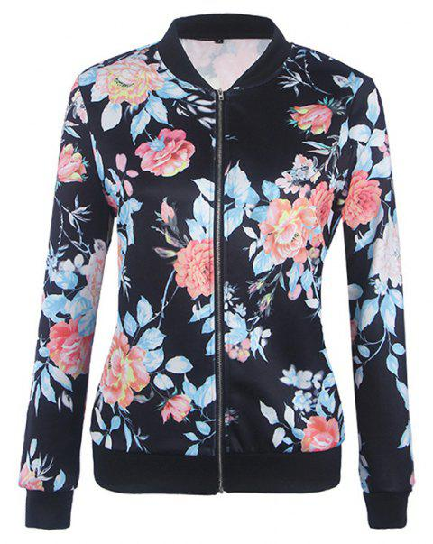 Women's Bomber Jacket Floral Patchwork Long Sleeve Pocket Slim Short Jacket - BLACK 2XL