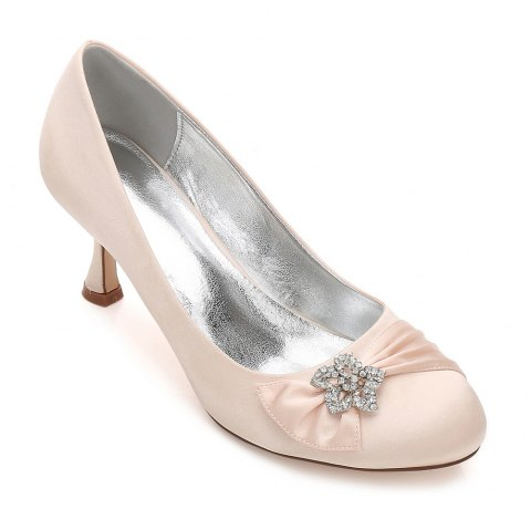 17061-30 Women's Shoes Wedding Shoes Round Toe Office Shoes - CHAMPAGNE 40