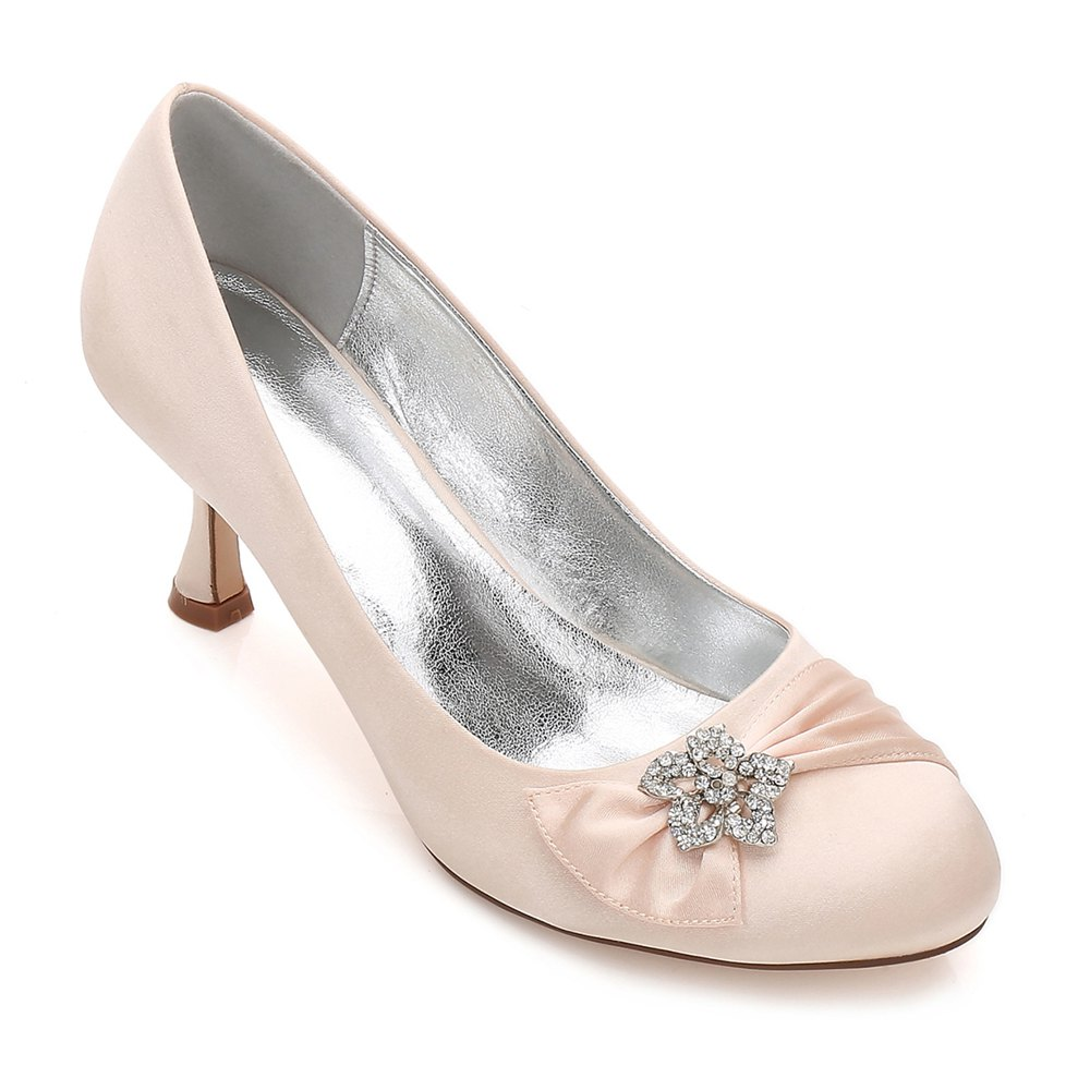 17061-30 Women's Shoes Wedding Shoes Round Toe Office Shoes - CHAMPAGNE 37