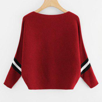 Women's Fashionable Round Neck Large Size Bat Sleeve Spell Color Sweater - RED ONE SIZE(FIT SIZE XS TO M)
