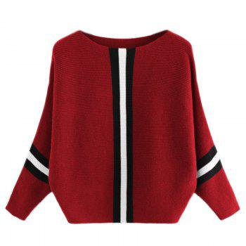 Women's Fashionable Round Neck Large Size Bat Sleeve Spell Color Sweater - RED RED