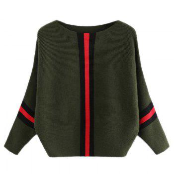 Women's Fashionable Round Neck Large Size Bat Sleeve Spell Color Sweater - GREEN GREEN