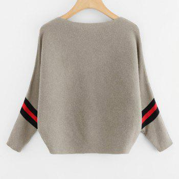 Women's Fashionable Round Neck Large Size Bat Sleeve Spell Color Sweater - GRAY ONE SIZE(FIT SIZE XS TO M)