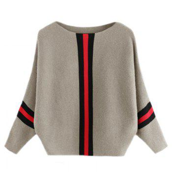 Women's Fashionable Round Neck Large Size Bat Sleeve Spell Color Sweater - GRAY GRAY