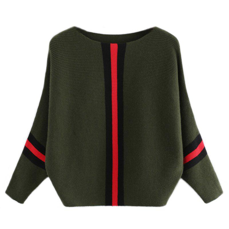 Women's Fashionable Round Neck Large Size Bat Sleeve Spell Color Sweater - GREEN ONE SIZE(FIT SIZE XS TO M)