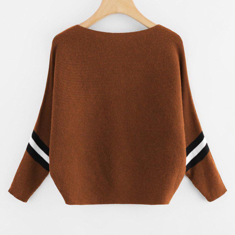 Women's Fashionable Round Neck Large Size Bat Sleeve Spell Color Sweater - KHAKI ONE SIZE(FIT SIZE XS TO M)