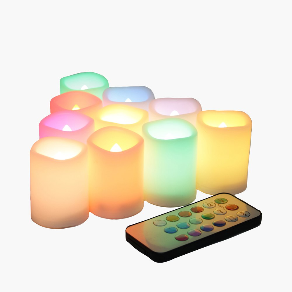 Set of 10pcs Flameless Votive Candle with Changing Color Remote and Timer - IVORY COLOR 10PCS