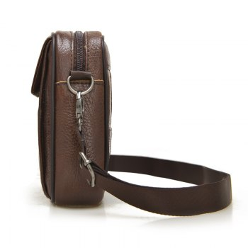 Genuine Leather Multiple Zipper Shoulder Crossbody Waist Bag - BROWN