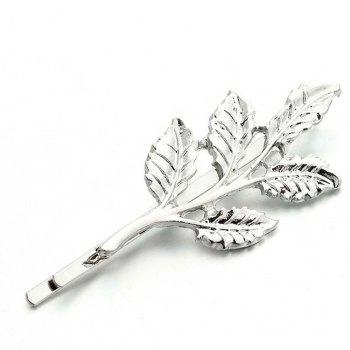 Metal Plant Leaf Branch Hairclip Fashion  Barrette Hair Jewelry For Women Hair Decoration - WHITE WHITE
