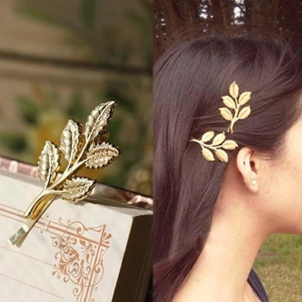 Metal Plant Leaf Branch Hairclip Fashion  Barrette Hair Jewelry For Women Hair Decoration - GOLDEN