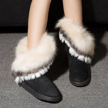 Hairy Flat-bottomed Snow Boot - BLACK 39