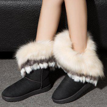 Hairy Flat-bottomed Snow Boot - BLACK 40