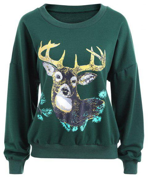 Autumn and Winter New Round Neck Long-Sleeved BF Wind Christmas Elk Printing Sweashirt Women - GREEN S