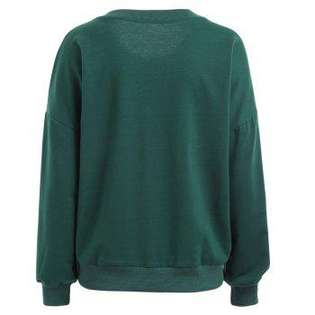 Autumn and Winter New Round Neck Long-Sleeved BF Wind Christmas Elk Printing Sweashirt Women - GREEN GREEN