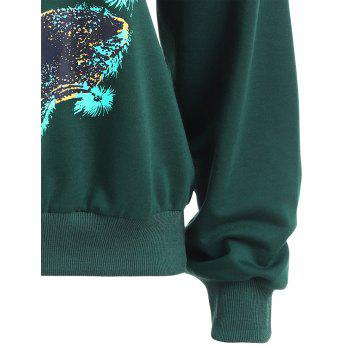 Autumn and Winter New Round Neck Long-Sleeved BF Wind Christmas Elk Printing Sweashirt Women - GREEN L