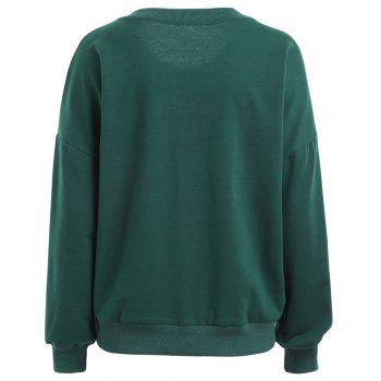 Autumn and Winter New Round Neck Long-Sleeved BF Wind Christmas Elk Printing Sweashirt Women - GREEN XL