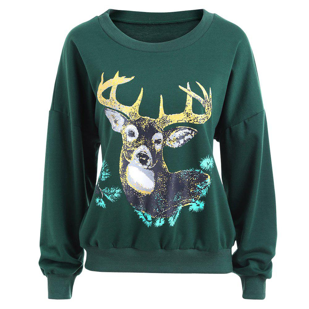 Autumn and Winter New Round Neck Long-Sleeved BF Wind Christmas Elk Printing Sweashirt Women - GREEN M