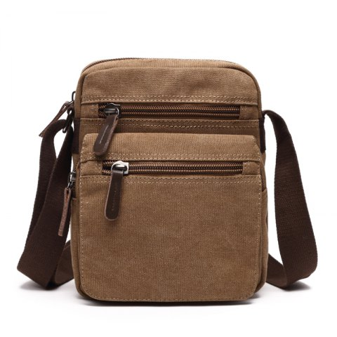 Men's Casual Pure Color Canvas Slant Cross Bag - KHAKI