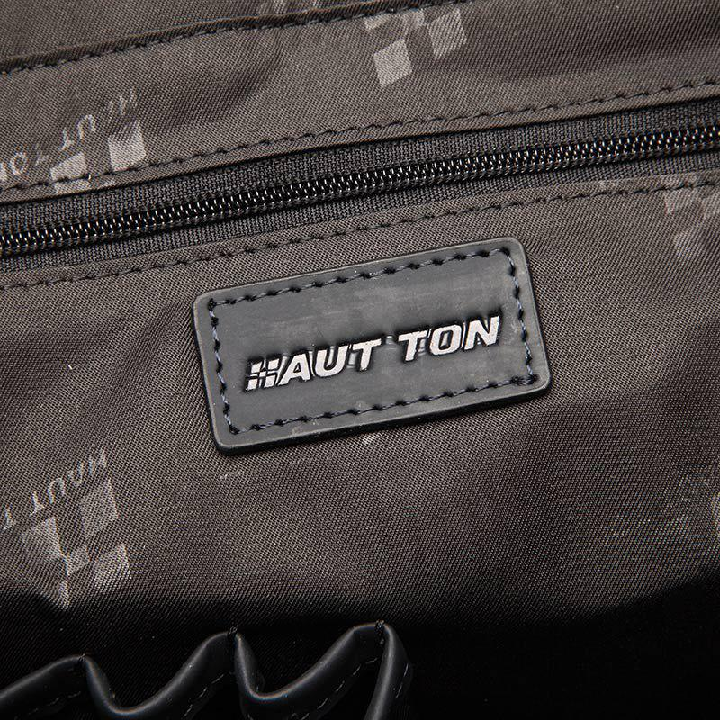 HAUT TON Embossing Business Leather Briefcase Top-Zip Laptop Messenger Bag - CHOCOLATE