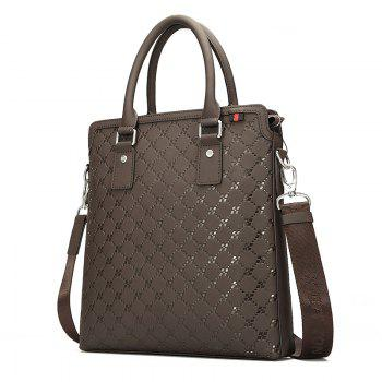 HAUT TON Embossing Business Casual Leather Briefcase Laptop Shoulder Messenger Bag -  CHOCOLATE