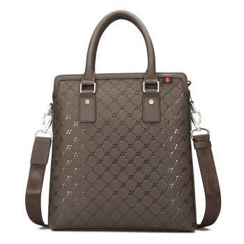 HAUT TON Embossing Business Casual Leather Briefcase Laptop Shoulder Messenger Bag - CHOCOLATE CHOCOLATE