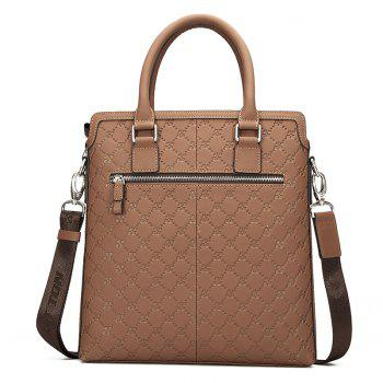 HAUT TON Embossing Business Casual Leather Briefcase Laptop Shoulder Messenger Bag -  BROWN