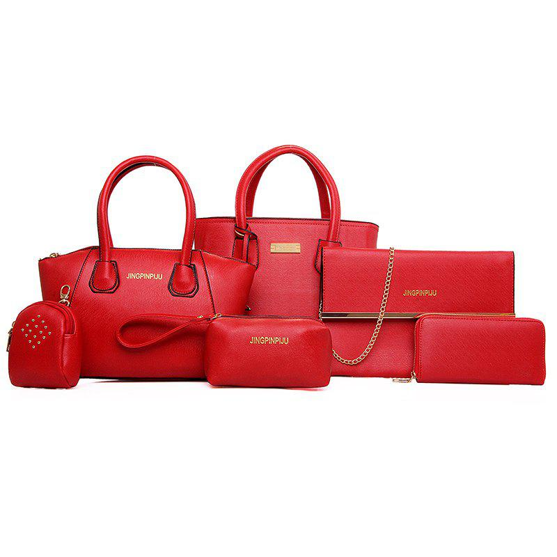 Six Woolly Lash Wrapping Lines Fashion Handbags - RED