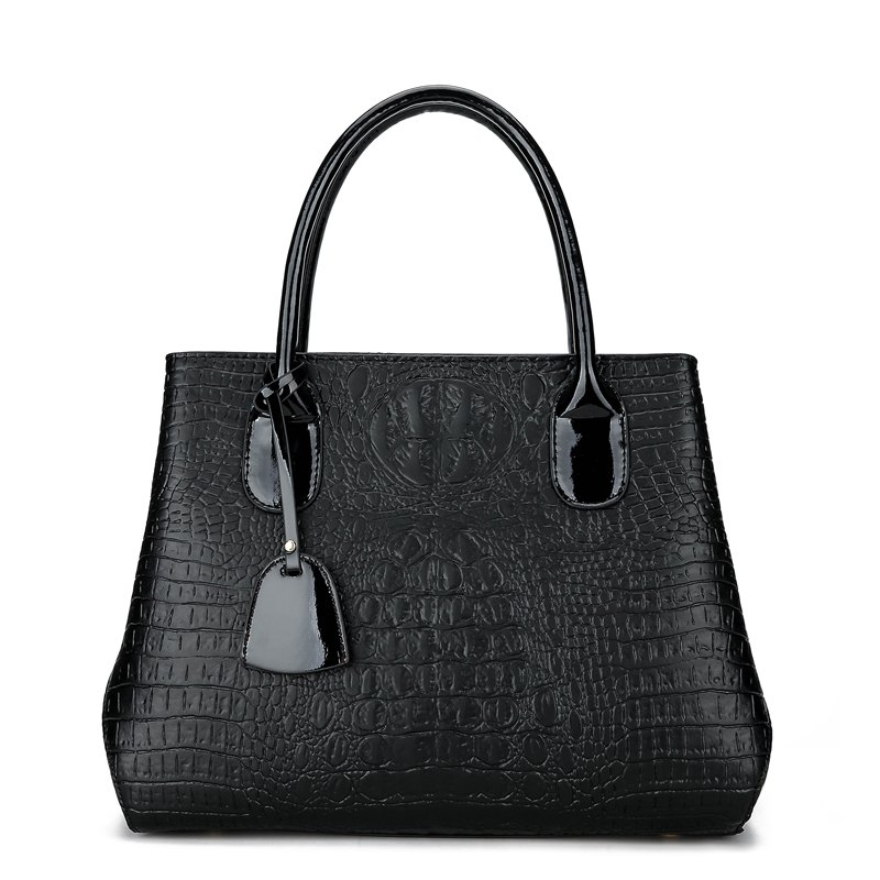 Fashion Crocodile Grain Small Pretty Waist Handbag - BLACK