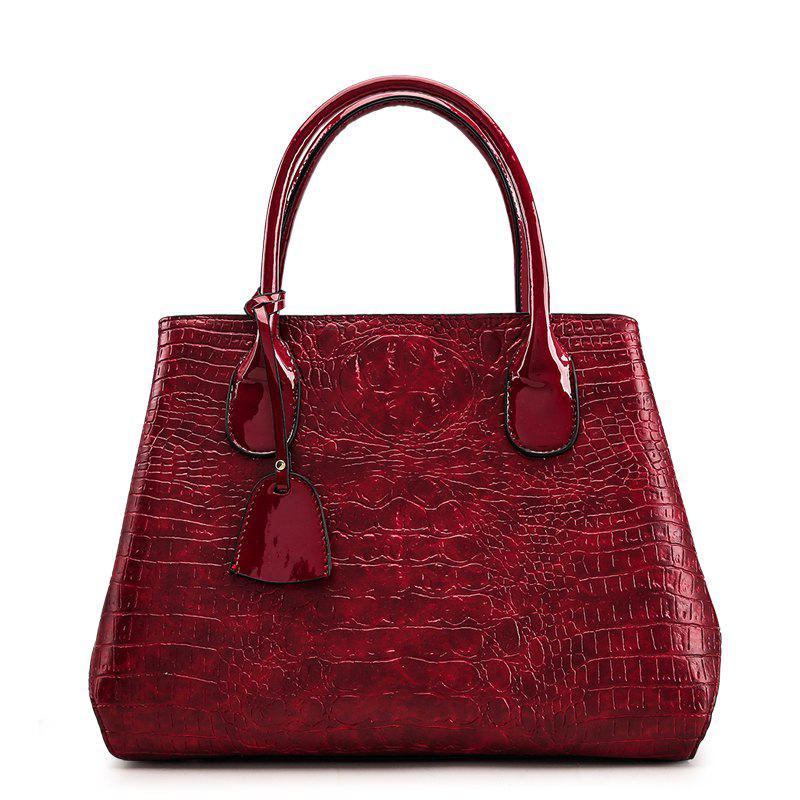 Fashion Crocodile Grain Small Pretty Waist Handbag - WINE RED