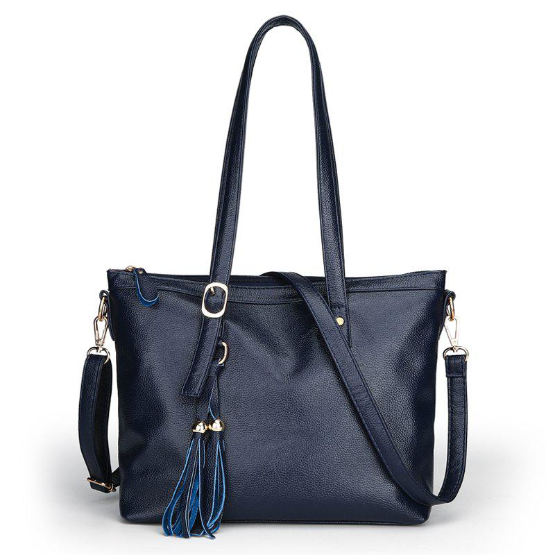 Litchi Grain Type Tassel Bucket Fashion Handbags - BLUE