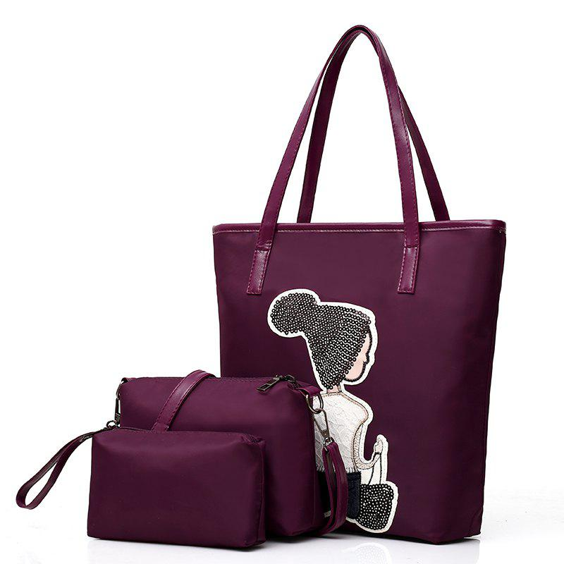 Three-6iece Nylon Cloth Embroidered Dolls Water Bucket Female Package Bags - PURPLE