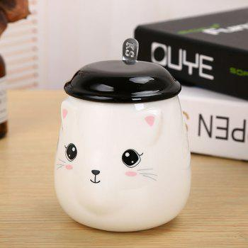 400ML Cute Cat Creative Expression Ceramic Mug - BLACK AND WHITE BLACK/WHITE