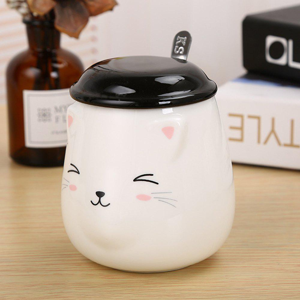 400ML Cute Cat Creative Expression Ceramic Mug - BLACK/WHITE STYLE 1