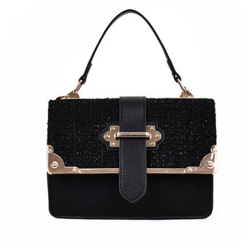 New Woolen Fashion Cross-body Bag Small Square Package - BLACK