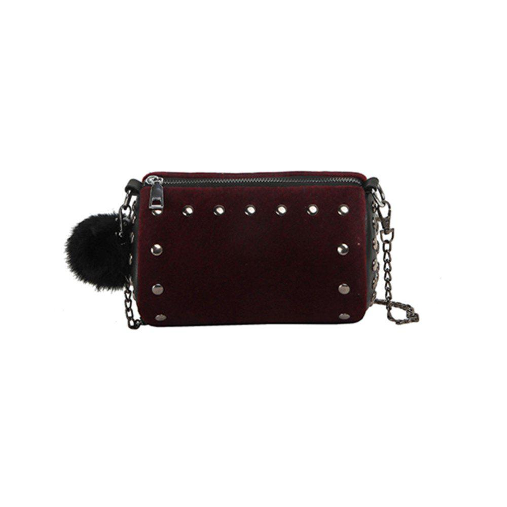 The New Fur Ball Bag Female Cute Mini Hair Messenger Bag - DARK RED