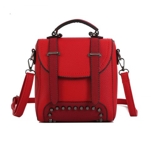 Lichee Grain Pure Color Single Shoulder Bag Fashion Rivet Slanting Female Bag - RED